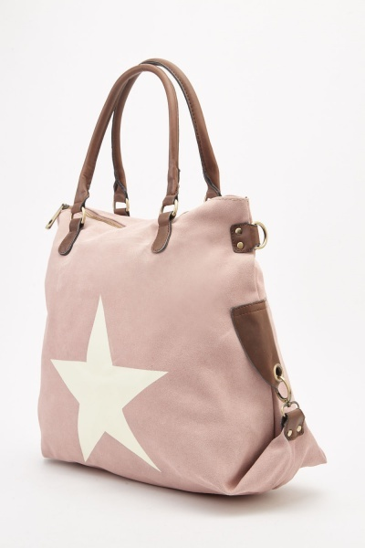 Star Printed Faux Suede Bag
