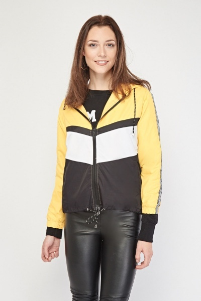 Colour Block Hooded Thin Jacket