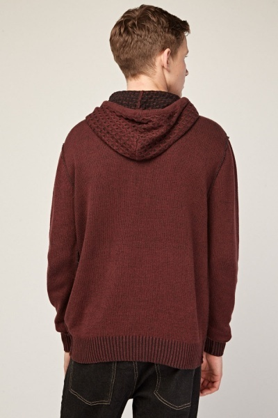 Contrast Knit Pattern Hooded Jumper