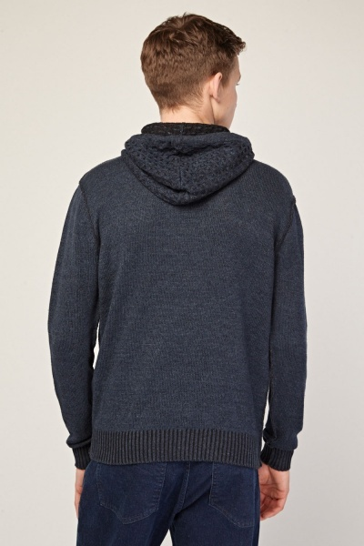 Contrast Panel Hooded Knit Jumper
