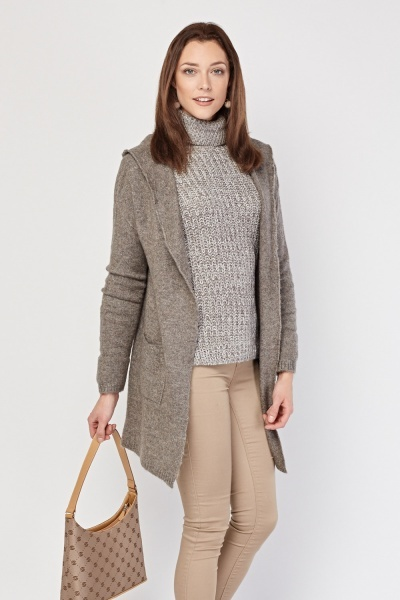 Knitted Long-Line Hooded Cardigan