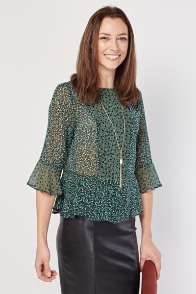 Printed Flared Sheer Blouse