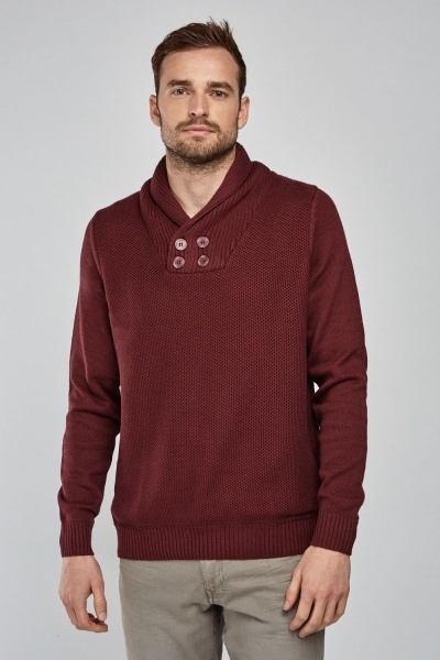 Textured Ribbed Neck Jumper