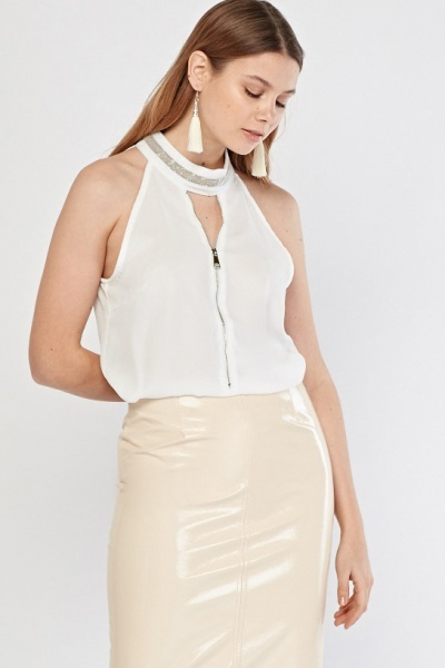 Embellished Neck Sleeveless Sheer Blouse