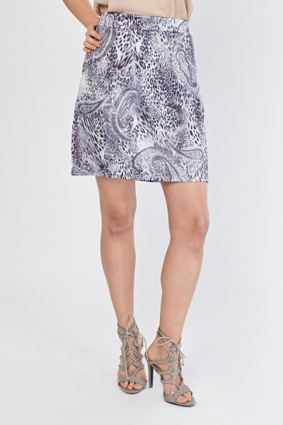 Mix Contrasted Print A-Line Skirt