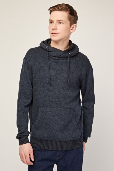 Textured Hooded Panel Knit Jumper