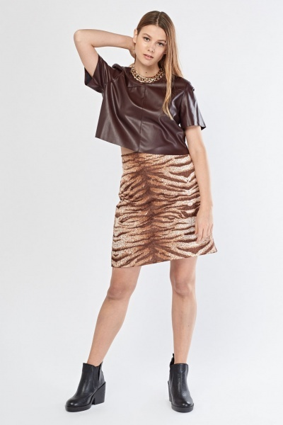 Tiger Printed A-Line Skirt