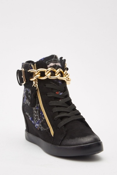 Chained Contrasted Wedged Boots Black Multi Just 163 5