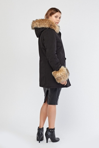 Faux Fur Trim Parka Coat
