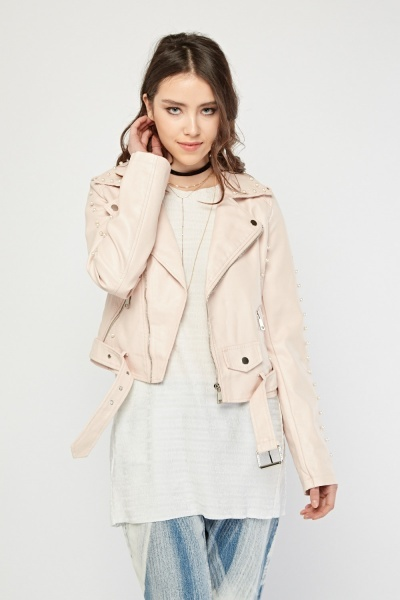 Light Pink Pearl Trim Leather Jacket
