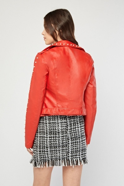 Red Fax Pearl Encrusted Biker Jacket