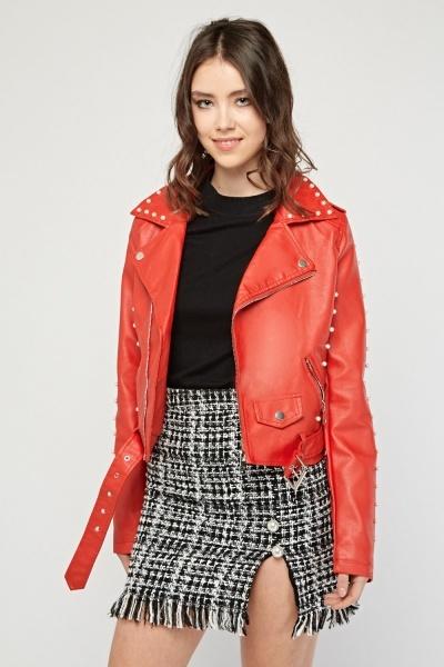 Red Fax Pearl Encrusted Biker Jacket