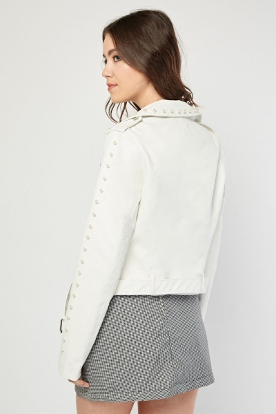 White Pearl Encrusted Biker Jacket