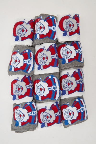 12 Pack Of Festive Printed Socks
