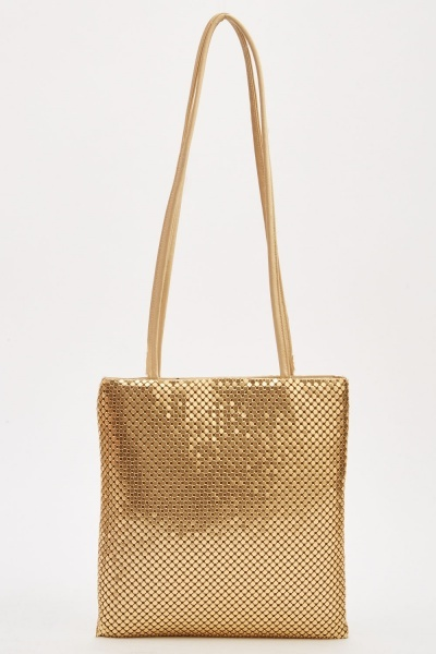 Metal Plated Sequin Mesh Bag