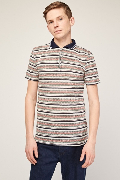 Multi-Striped Thin Knitted Polo Top