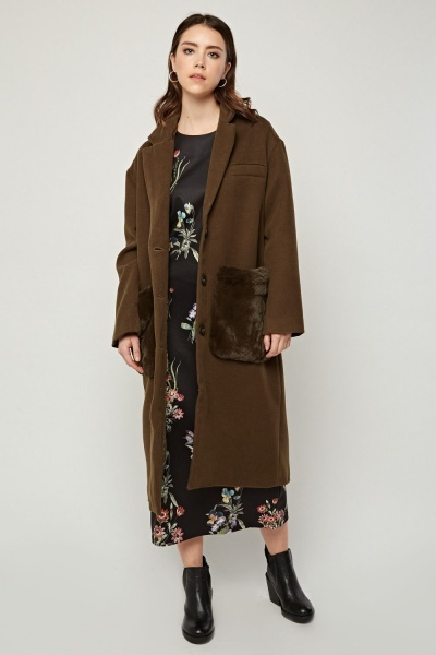 Olive Fluffy Pocket Trim Coat