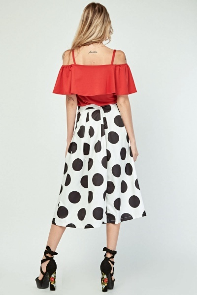 Polka Dot Midi Flared Skirt