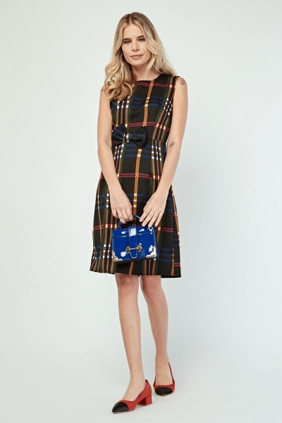 Sleeveless Bow Front Plaid Dress