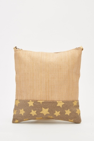 Star Printed Contrasted Cross Body Bag