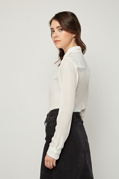 White Sheer Button Up Blouse