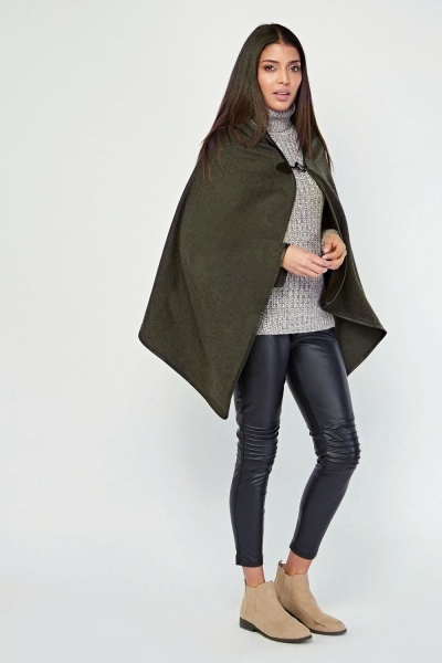 Asymmetric Hooded Poncho