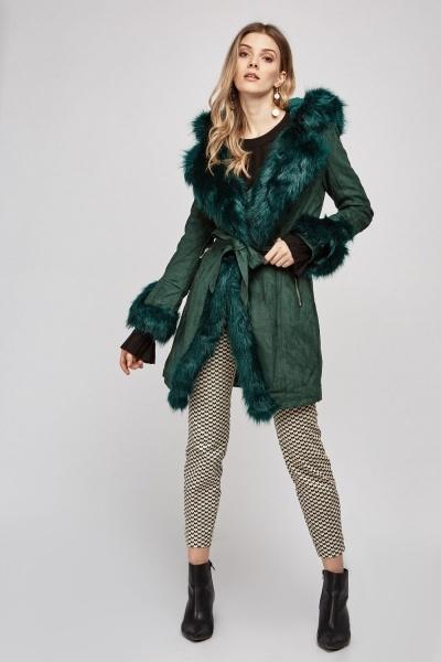 Belted Faux Fur Trim Coat