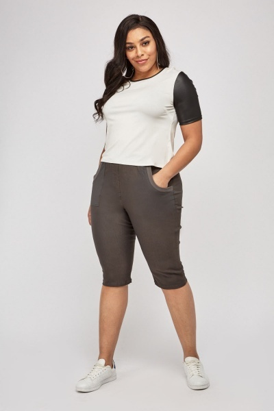 Casual Pocket Front Crop Pants