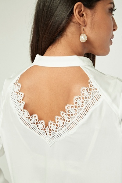 Crochet Trim Tie Up Neck Blouse