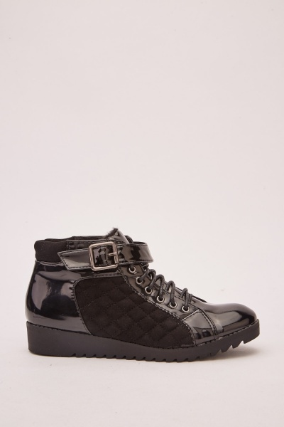 Quilted PVC High Top Sneakers