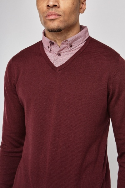 Burgundy Shirt Insert Sweater