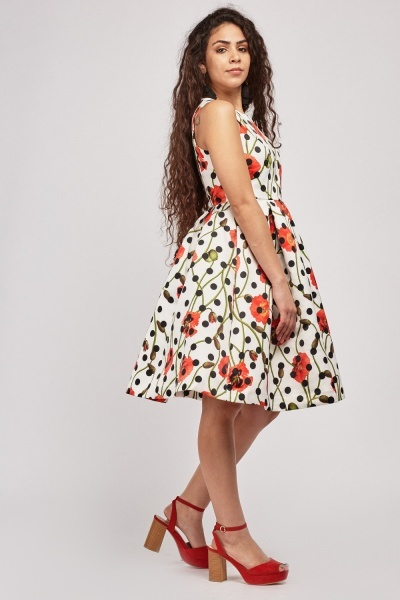Floral Printed Midi Flared Dress