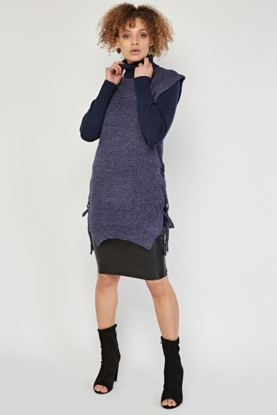 Sleeveless Lace Up Side Pullover