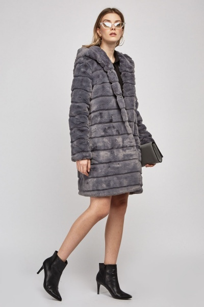 Grey Hooded Faux Fur Coat