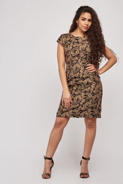 Cap Sleeve Vintage Print Dress