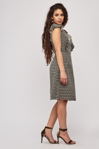 Ruffle Panelled A-Line Dress