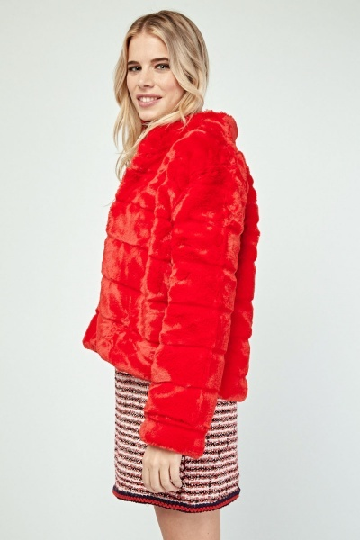 Textured Red Faux Fur Jacket