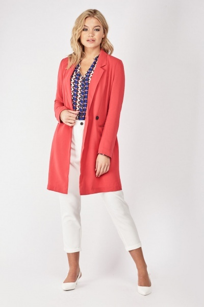 Double Breasted Long-Line Blazer