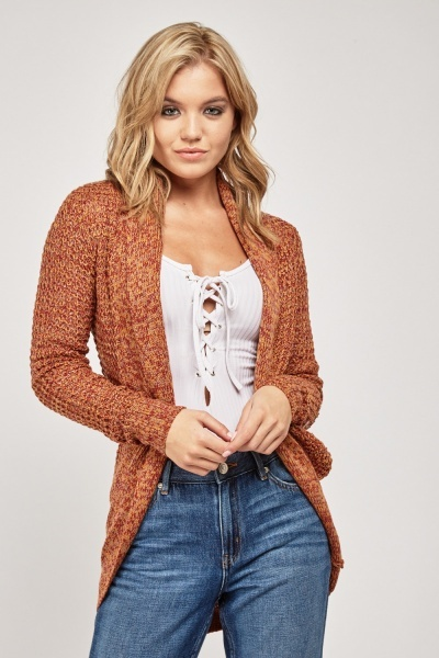Open Front Speckled Knit Cardigan