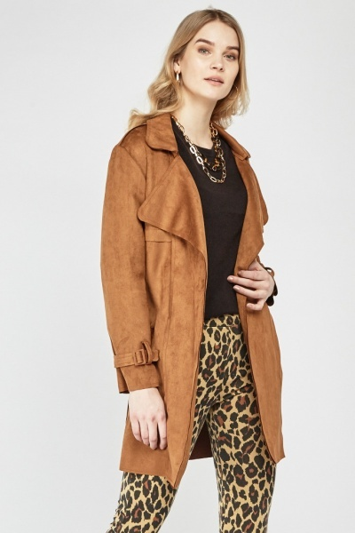 Waterfall Faux Suede Trench Coat