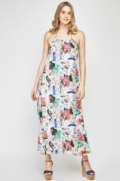 Graffiti Print Halter Neck Dress