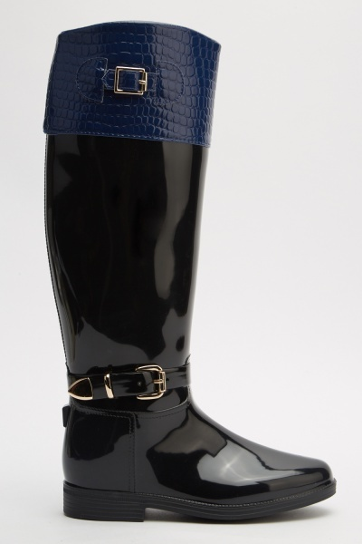 Contrasted Mock Croc Rain Boots