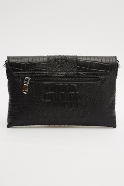 Envelope Mock Croc Clutch Bag