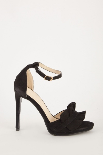 Frilly Suedette High Heel Sandals