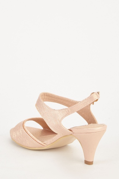 Shiny Textured Low Heel Sandals