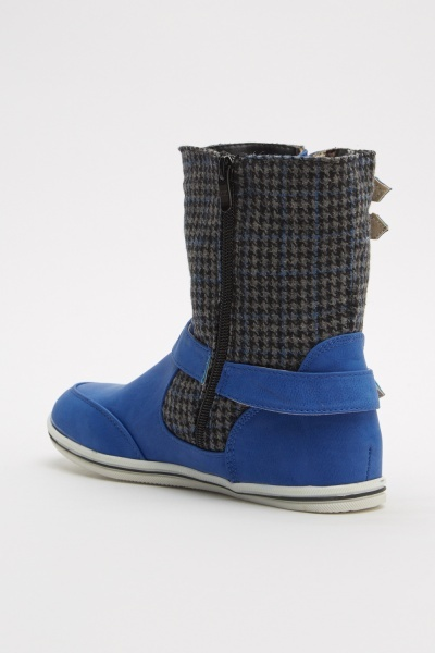 Tweed Buckle Contrast Boots