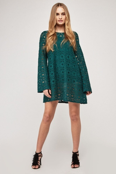 Crochet Overlay Flared Shift Dress
