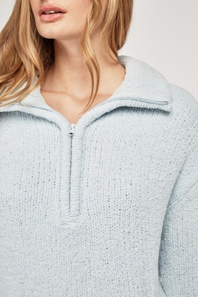 Zip Up Textured Borg Jumper