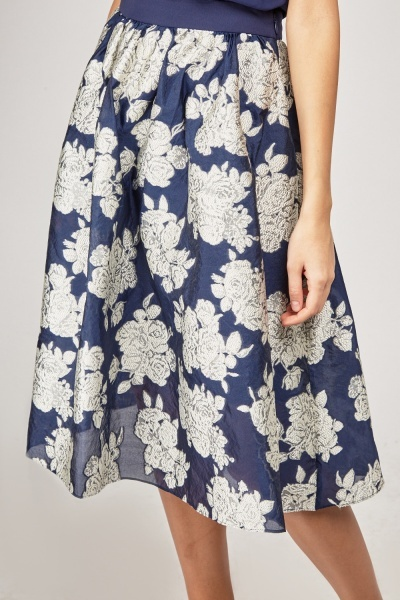 Embroidered Flower Flared Midi Skirt
