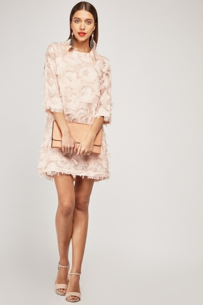 Frayed Fringed Mini Dress
